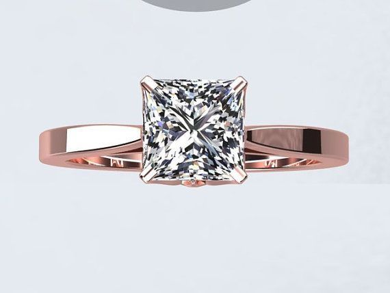 Princess Cut Natural White Topaz 1.25ct 14kt Rose Gold Engagement Ring