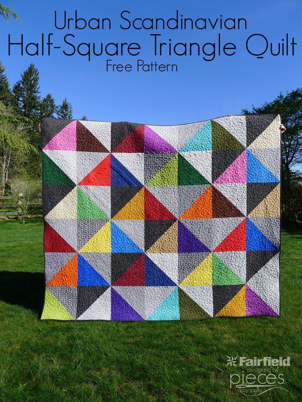 Pieces by Polly: Urban Scandinavian Modern Half-Square-Triangles Quilt ... Easy Queen-Sized Quilt - Easy King Sized Quilt - Simple Quilt - Modern Quilt - Free Quilt Pattern