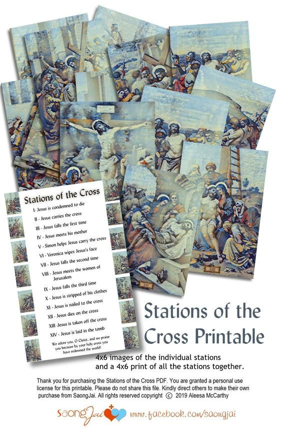 Printable 4x6 Stations Of The Cross Pdf Etsy Stations Of The Cross Cross Printable Prints