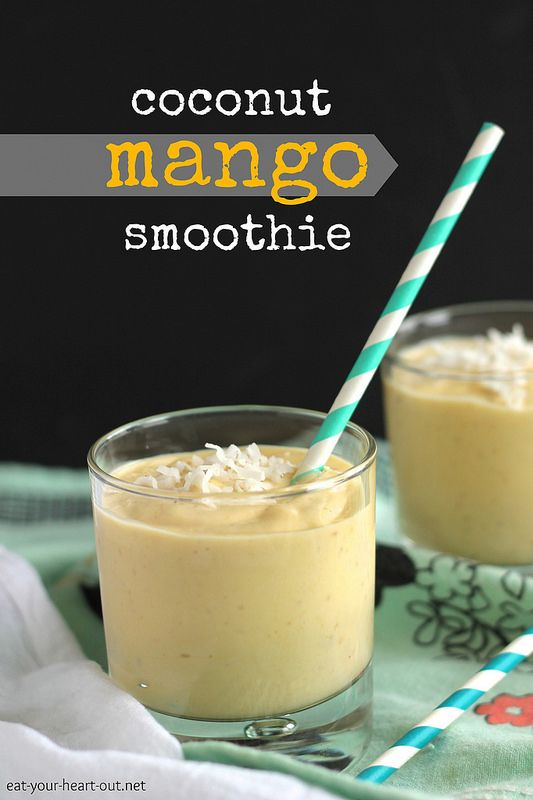 Coconut Mango Smoothie:This rich, creamy smoothie is packed full of summery mango, banana, and coconut milk and will have you thinking you're on a tropical island. #healthy #recipe