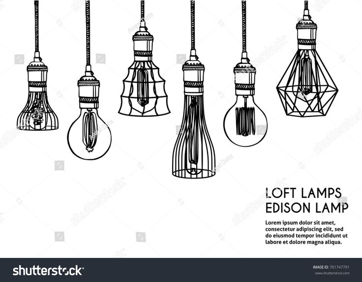 Hand Drawn Vector Set Of Different Geometric Loft Lamps