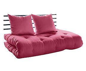 Divano/futon in pino e cotone Shin Sano magenta - 100x140x70 cm
