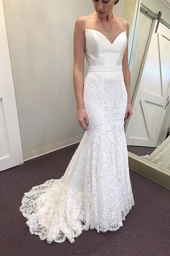 9601ae4e078 Mermaid Spaghetti Straps Sweep Train Lace Beach Wedding Dress by Hiprom