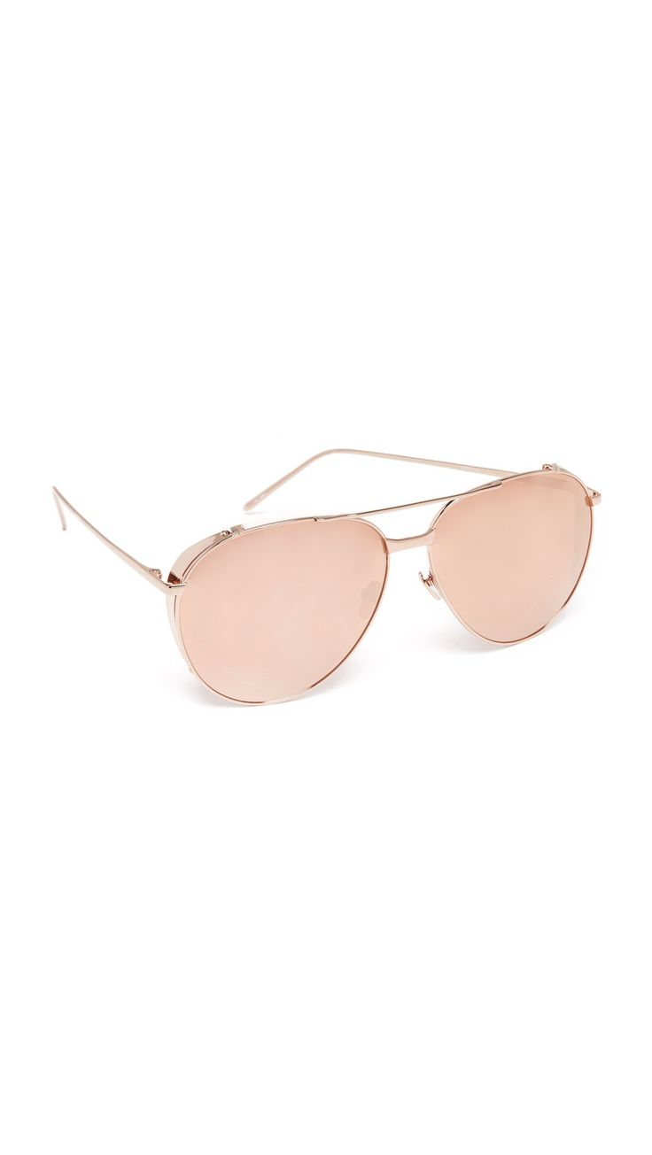 Linda Farrow Luxe Women's Mirrored Aviator Sunglasses, Rose Gold/Rose Gold, One Size. Height 2.25in / 5.5cm.