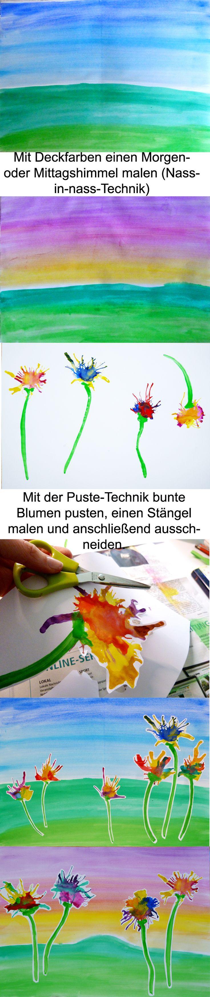 Frühling im Kunstunterricht der Grundschule. Zunächst werden Fotos von bunten Frühlingswiesen betrachtet: Vielfalt und Farbigkeit der Blumen herausstellen. Dann arbeiten die Schüler an ihren eigenen Frühlingswiesen (Puste-Technik).