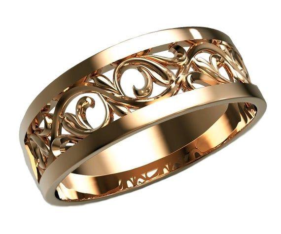 Filigree Wedding Band Milgrain Gold Ring Flower Jewelry Ring Etsymktgtool Contourring Weddingrin Filigree Wedding Ring Filigree Wedding Band Wedding Rings