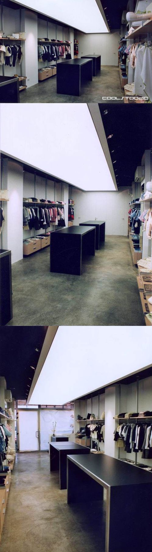 Alluminio store - Furniture for a clothing store.
