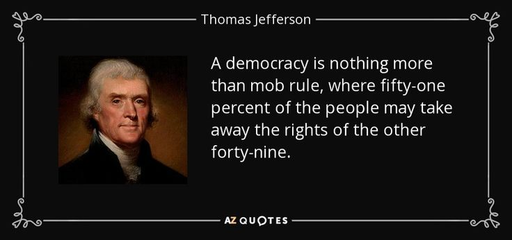 A Democracy Is Nothing More Than Mob Rule, Where Fifty-one