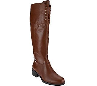 Isaac Mizrahi Live! Medium Calf Leather Riding Boots w/ Lace Detail