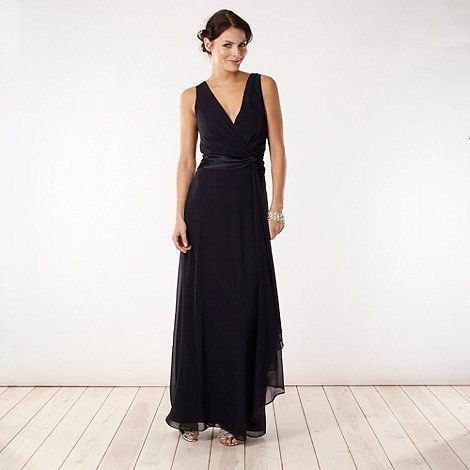 Debut Navy satin twist front maxi dress- at Debenhams.com