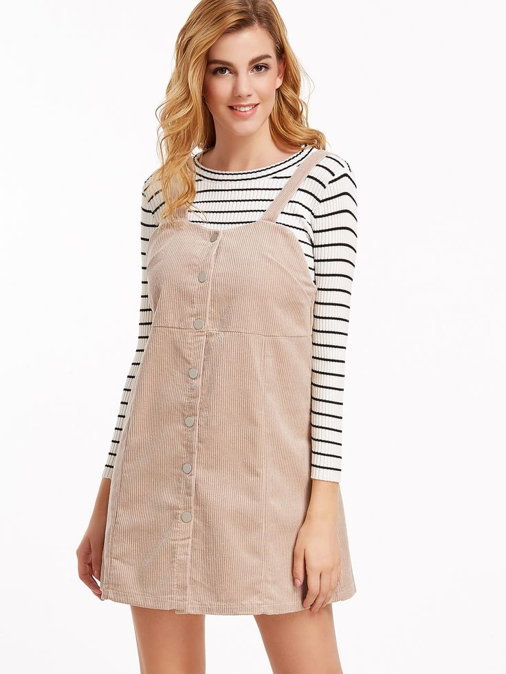Shop Apricot Corduroy Single Breasted Overall Dress online. SheIn offers Apricot Corduroy Single Breasted Overall Dress & more to fit your fashionable needs.