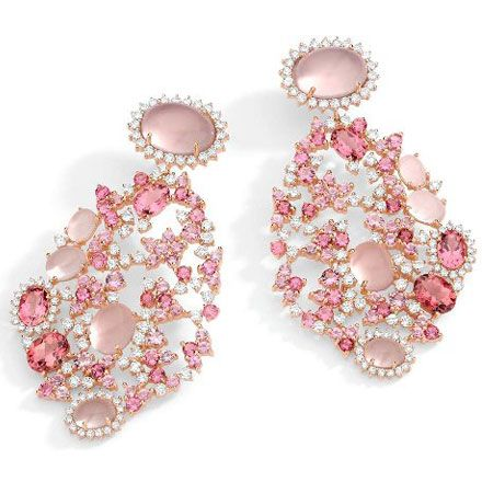 Baobab Rose Collection - Earrings in 18K rose gold with round diamonds, rose quartz and pink tourmaline.