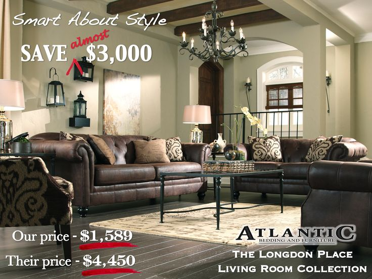 this classic leather look will transform any living room atlantic bedding and furniture marietta www - Living Room Sets On Sale