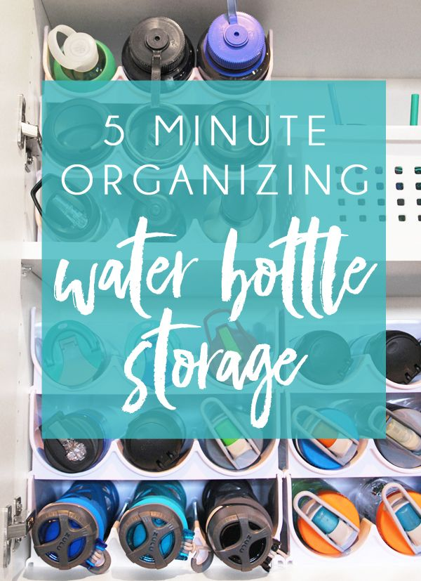 Water Bottle Storage solution! How to organized kitchen cabinets with quick five minute organizing projects. Perfect kitchen cabinet organizers for water bottles, plastic cups, straws, and more.