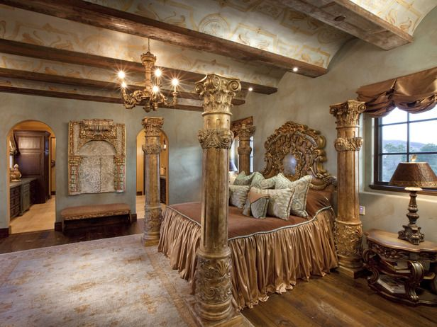 Romantic Bedrooms Opulent Gold Four Poster Bed In