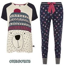 Winter Christmas Bear Ladies Pyjamas Set Raglan Leggings Primark Womens Girls