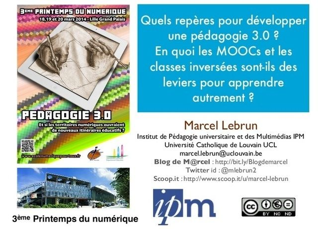 Conférence plénière inaugurale donnée lors de la 3ème édition du Printemps du Numérique organisé par l'Enseignement Catholique Nord Pas de Calais au Grand Pa...