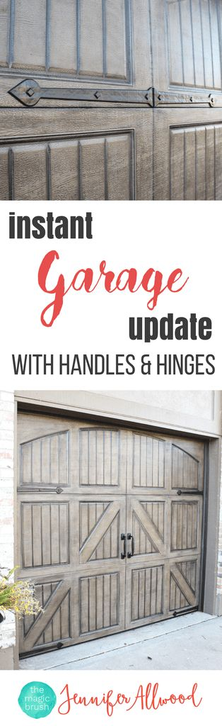 Easy Garage Hardware Update with new handles and hinges | Magic Brush | Here's an easy way to make metal garage doors look like expensive garage doors and how to improve curb appeal! Gorgeous Garage Hardware updates and DIY Garage Ideas