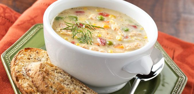 Salmon Chowder - using canned salmon, potatoes, carrots, corn, and more