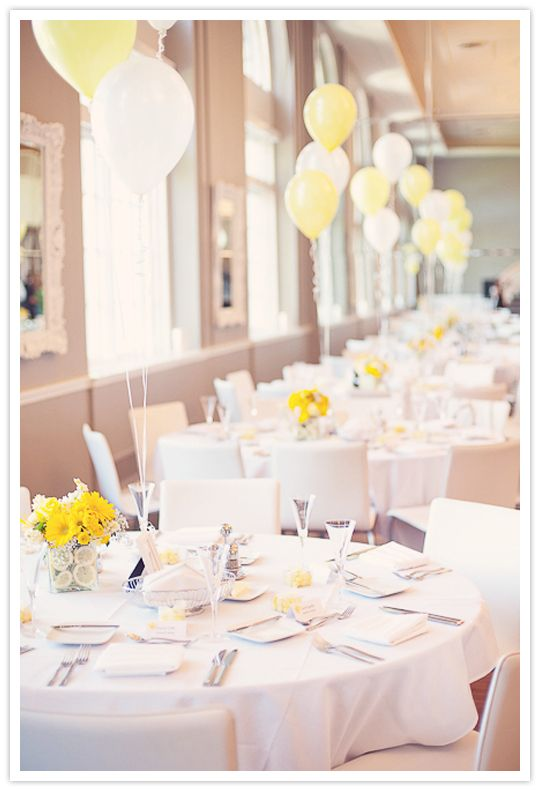 Table decorations - white and yellow