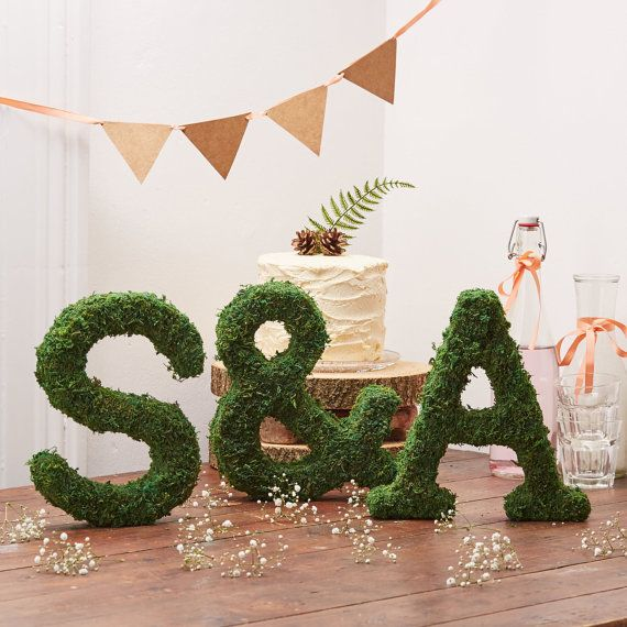 Real Moss Alphabet Letter - Woodland Wedding Decoration - Rustic Wedding - Moss Topiary - Moss Initials - Moss Sculpture - Personalised