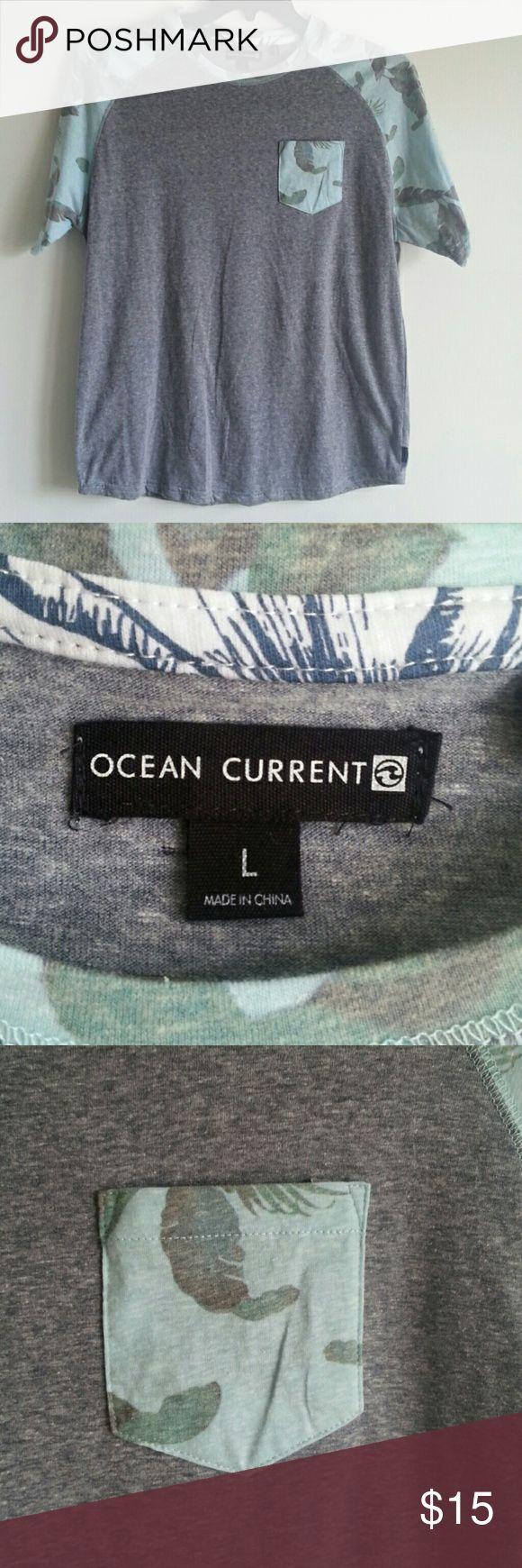NEW OCEAN CURRENT org$24 New OCEAN CURRENT  GREY &  JUNGLE PRINT OCEAN CURRENT  Shirts Tees - Short Sleeve