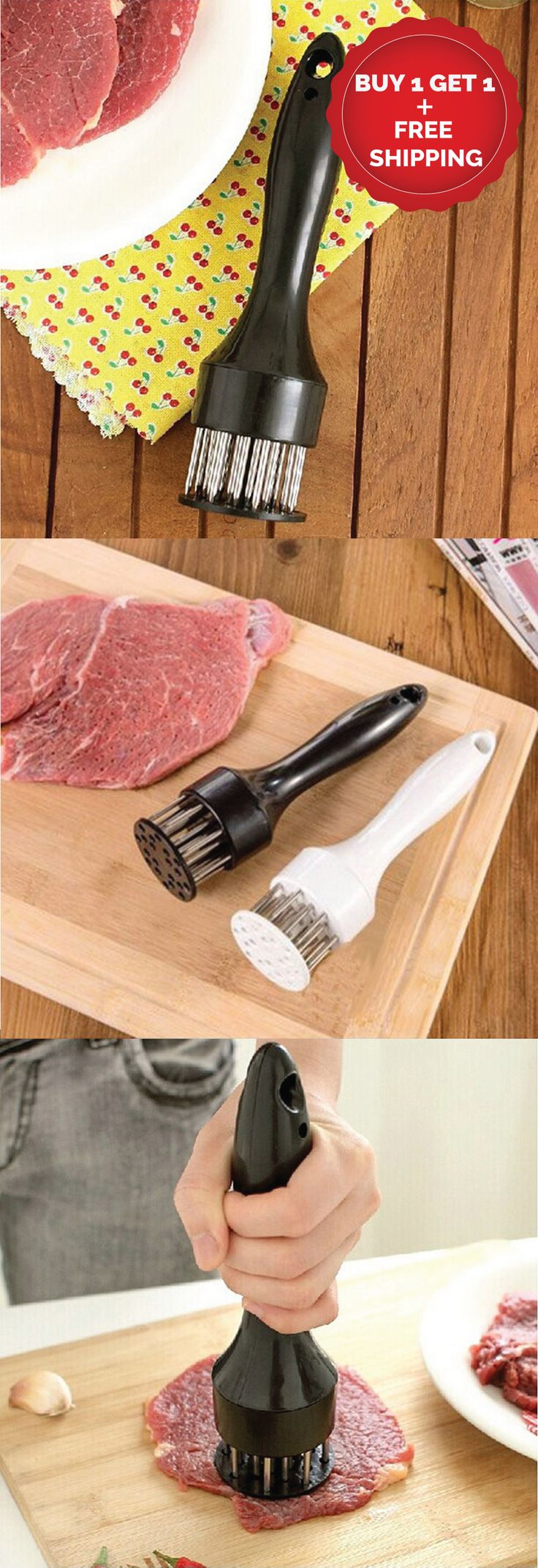 """Stainless Steel Needle Meat Tenderizer (BUY1-GET1) *Made of ABS material, safe and non-toxic. *It has the advantages of multi-purpose, simple operation, convenient cleaning, reliable quality. *High efficiency, and do not hurt your hands.  *It is a good helper when you barbecue with your friends or families. *Reduce cooking time by up to 40% by creating """"heat channels"""". *More even cooking; reduced shrinkage. *Easy to clean"""