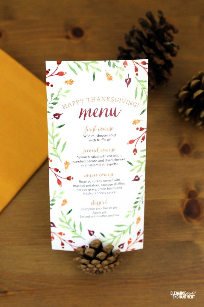 Elegance and Enchantment Free Thanksgiving Menu Card Printable - Two sizes included