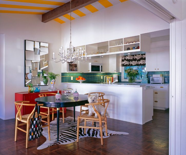 Love the yellow stripped ceiling. such a fun kitchen/dining area. M Interior Design