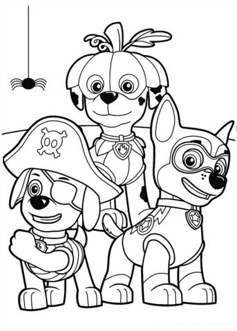 Paw Patrol Halloween Party Coloring page                                                                                                                                                                                 Plus