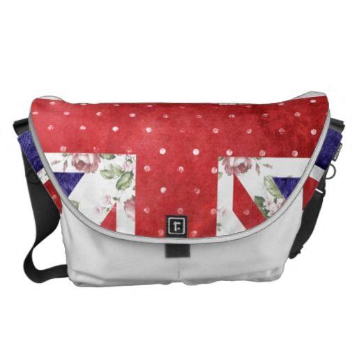 Vintage Red Polka Dots Floral UK Union Jack Flag Messenger Bag