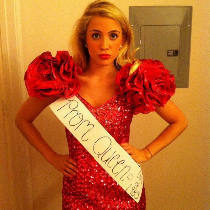 80s Prom Queen Costume - so easy!  All you need is a vintage 80s formal dress and a DIY sash.  Totally rad. http://www.liketotally80s.com/2006/12/80s-costume-prom-queen/