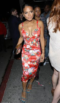 Night on the town: Christina Milian enjoyed a girls' night out with Karrueche Tran and pal...