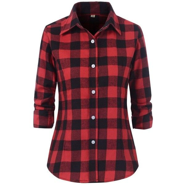 Benibos Women's Check Flannel Plaid Shirt ($16) ❤ liked on Polyvore featuring tops, flannel shirts, red checkered shirt, shirt tops, flannel top and red flannel shirt