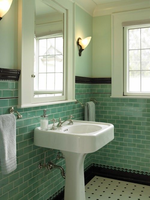 Love the sink, love love love the green subway tiles, the medicine cab is super cute