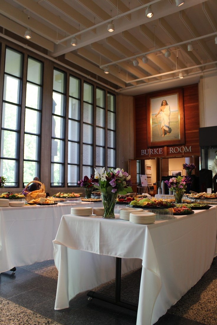 Our lobby all set up for a buffet-style catered dinner next to our floor to ceiling windows.