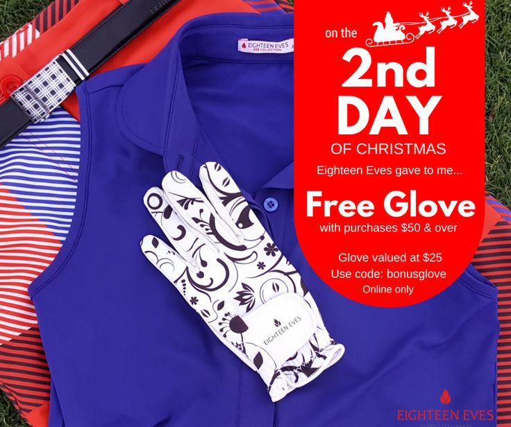 🎅⛳ On the 2nd Day of Christmas, Eighteen Eves gave to me... a FREE GOLF GLOVE with purchases $50 and over. ⛳🎅  Simple choose your items in our online store including the bonus glove and use code: bonusglove at the checkout for the discount to be allocated. Full t&c's can be found on our FB events page.  Happy Golfing!!   Code valid until the 15th Dec. 2016