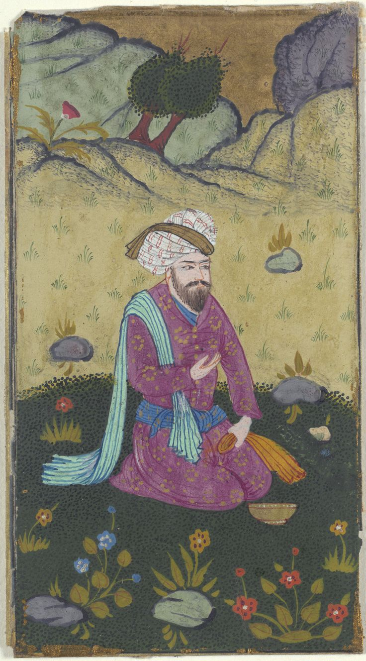 Seven Paintings of Figures in Landscapes    painting: early 17th c. calligraphy: 1587  Opaque watercolor on paper  Unframed (Each ): 9.2 x 5.1cm (3 5/8 x 2in.)  Culture:   Persian, Iranian,    Safavid dynasty (1501–1732)