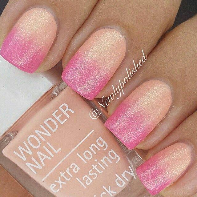Pink Orange Summer Ombre Glitter Nailart #nailart #nails
