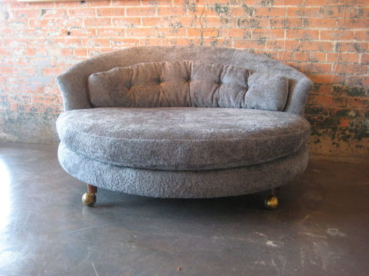 Gray Oversized Round Chair On Wheels With Tufted Back In Vintage Design