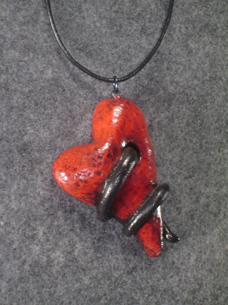Red heart polymer clay pendant - pinned by pin4etsy.com
