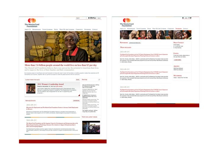 The MasterCard Foundation website design by Macroblu.