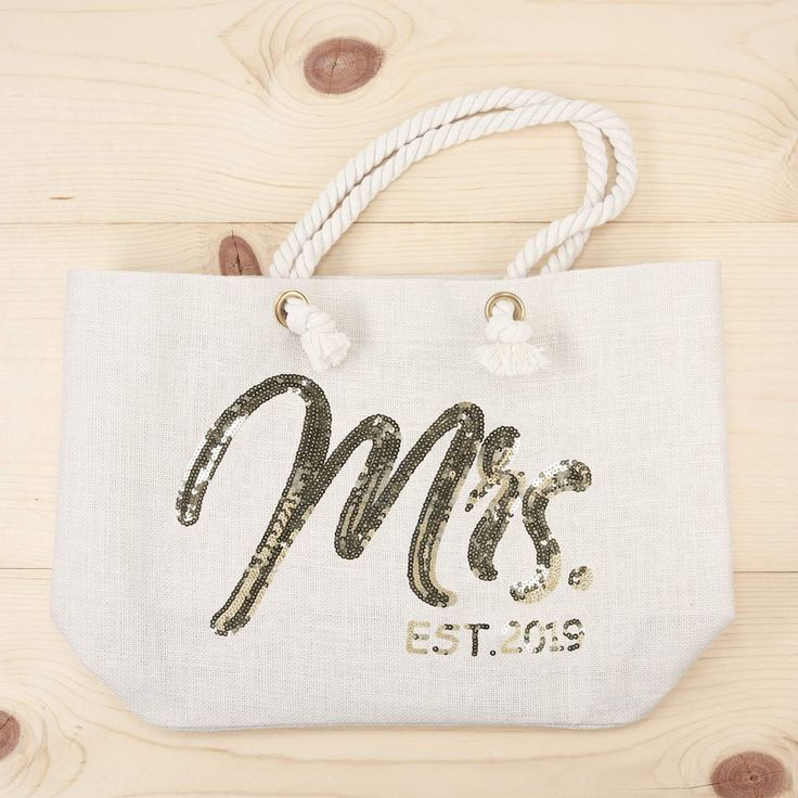 Amazon Com Elegantpark Wifey Bride Tote Bag Wedding Bachelorette Bridal Shower Gifts Jute Gold Sequin With Interior Bride Tote Bride Tote Bag Wedding Handbag