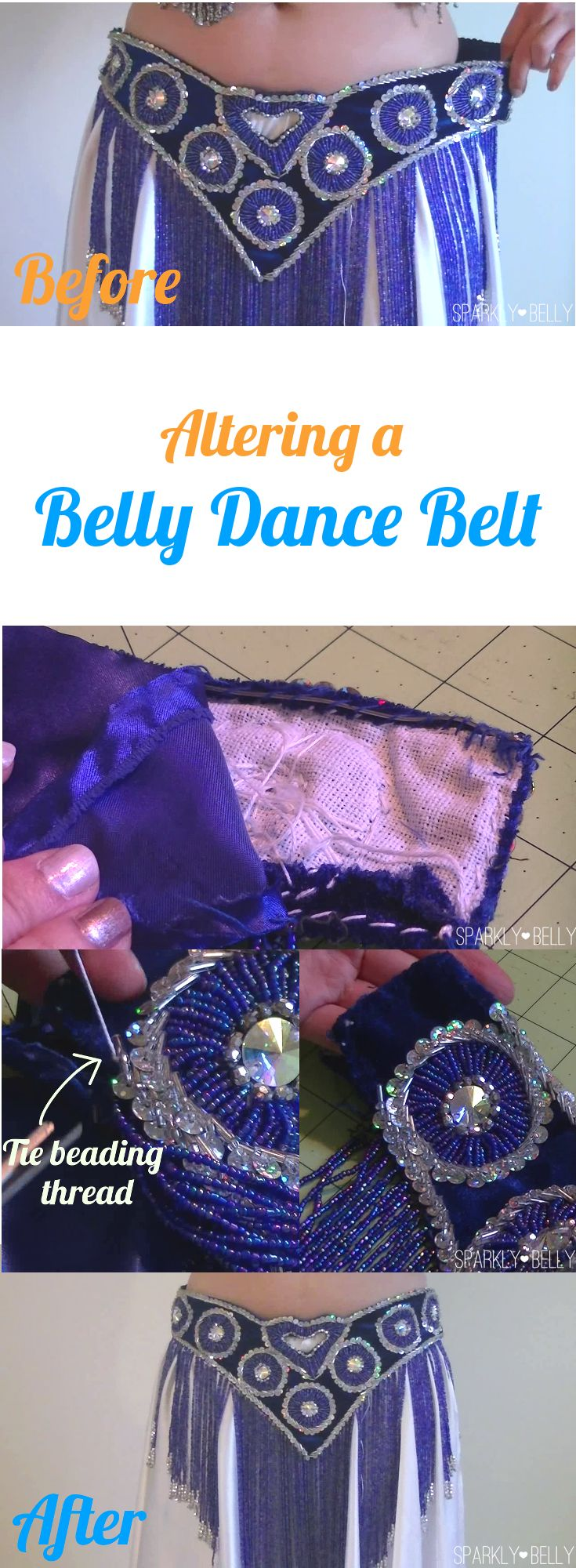 How to shorten beaded belly dance belt. Useful skill to learn :)