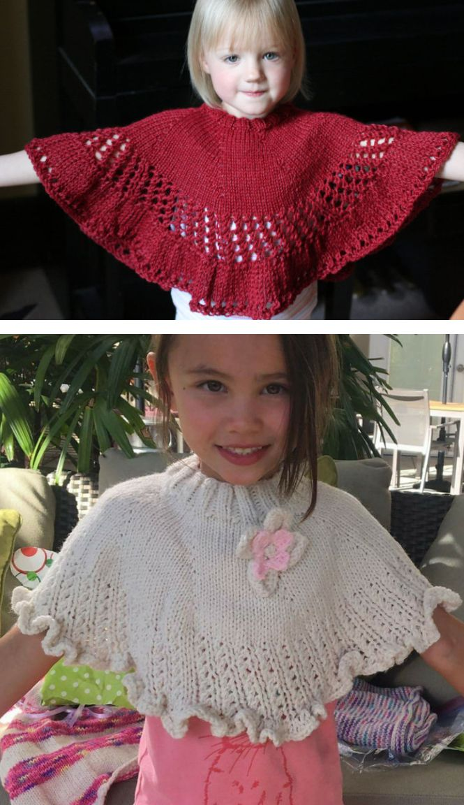 Free Knitting Pattern for Kiddie Capelet - Child sized poncho with easy lace eyelets and ruffled edge. Aran weight yarn. Designed by Christine Buhagiar. Rated easy by Ravelrers. Pictured projects by DuchessOfYarnover who extended the ruffle andlkawakami who added a flower