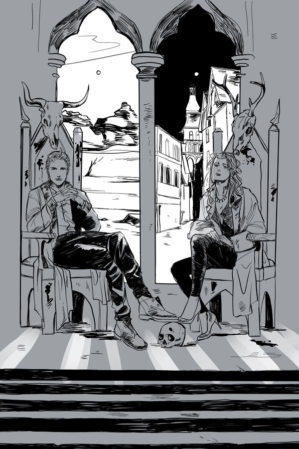 Cassandra Jean's postcard for City of Heavenly Fire - Sebastian and Clary. The windows behind them both look onto different scenes, but they are in the same room.