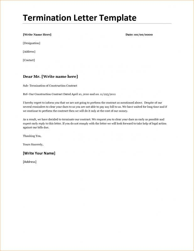 Sample Termination Letter For Cause Letter Templates Lettering