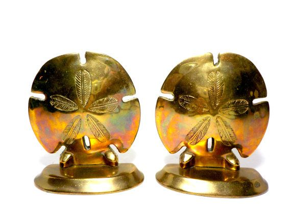 Brass Sand Dollar Bookends Tropical Bookends by TheVintagePorch
