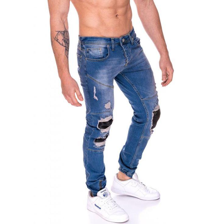 Pánske jogger nohavice jeansové (džínsové) svetlo modré