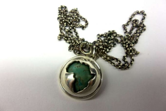 Silver & Turquoise Africa Pendant by Kallie on hellopretty.co.za